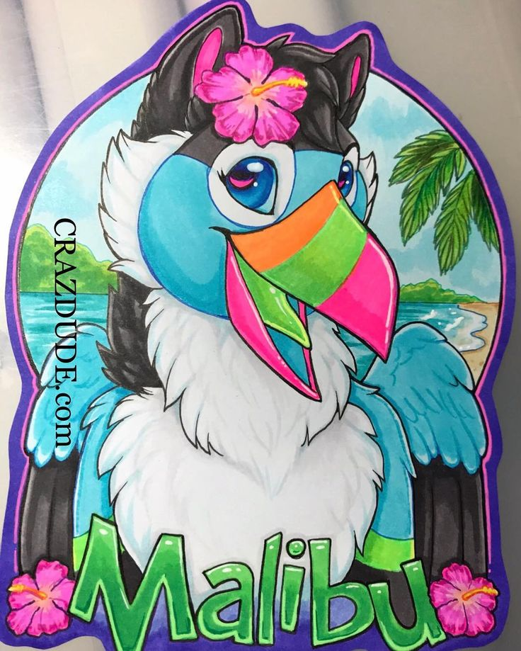 Im thrilled to have gotten the opportunity to draw the adorable @malibuskyy! Im excited for her to get it just in time for MFF! Her beak and some of the accents (pink border pink accents in eye parts of the flowers green highlights on name) are UV reactive! #crazdudecommissions