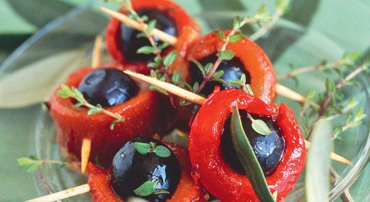 Recette de minibrochettes de poivron grillé aux olives