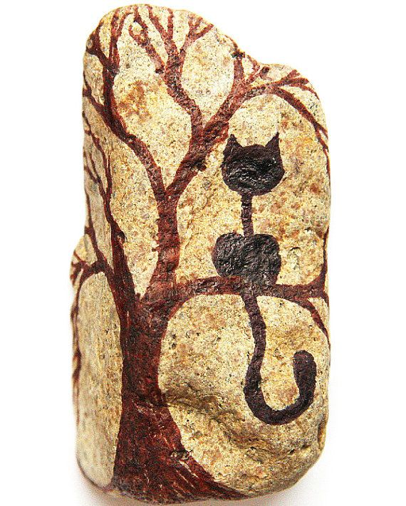 Black Cat in a Tree Painted Stone in Black Ink and by YourZenZone, $25.00