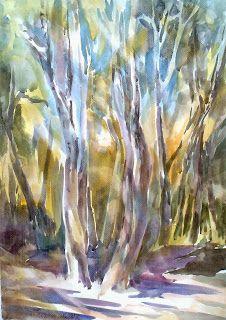 An aquarell, presenting an autumn forest :)