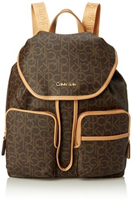 Backpack Calvin Klein 2SM Signautre Logo Brown Khaki Camel One Size Bag #CalvinKlein #Backpack