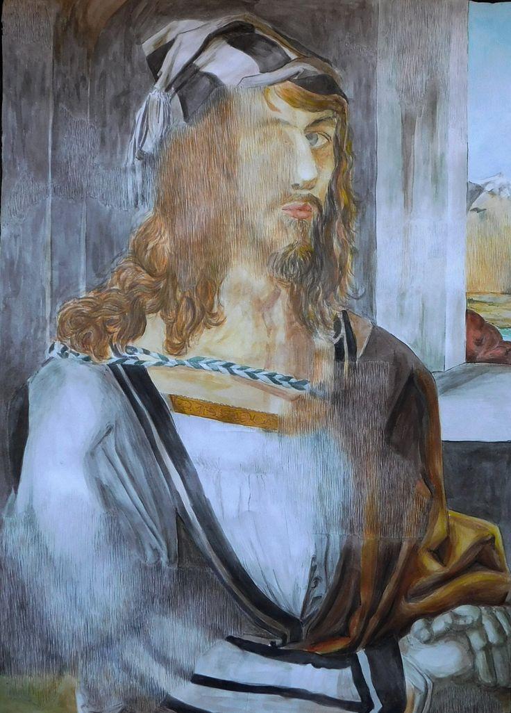 Self-Portrait* (after Albrecht Dürer Self-Portrait) aquarelle on paper 50x70 by me (tratteggio)