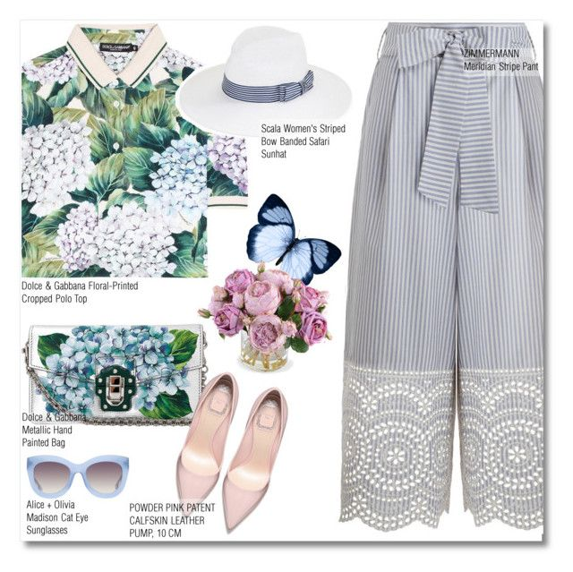 """""""floral & stripes"""" by zalarupar ❤ liked on Polyvore featuring Dolce&Gabbana, Zimmermann, Alice + Olivia, New Growth Designs and Scala"""