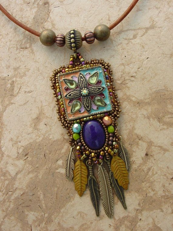 Enameled Beaded Necklace by HeidiKummliDesigns on Etsy, $145.00