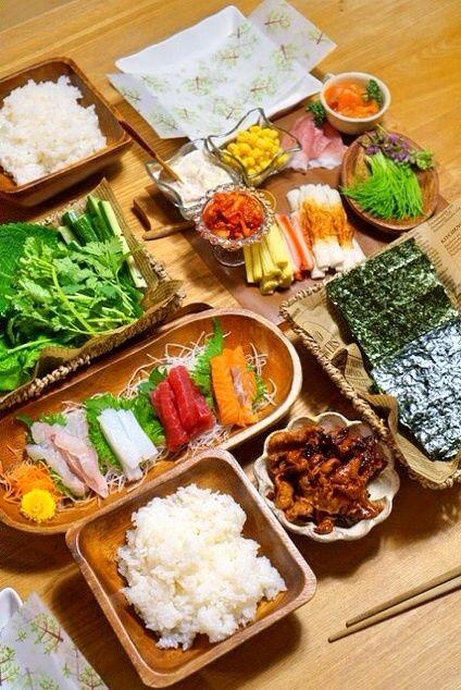 オススメ!手巻き寿司の具材とテーブルコーディネート☆