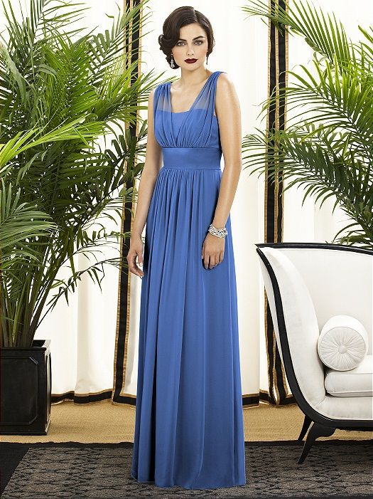 """I like the Grecian look of this dress. In """"cornflower"""" for a dramatic look."""