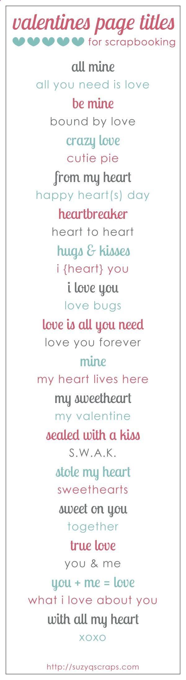 valentines and love scrapbook ideas | valentines scrapbook page titles