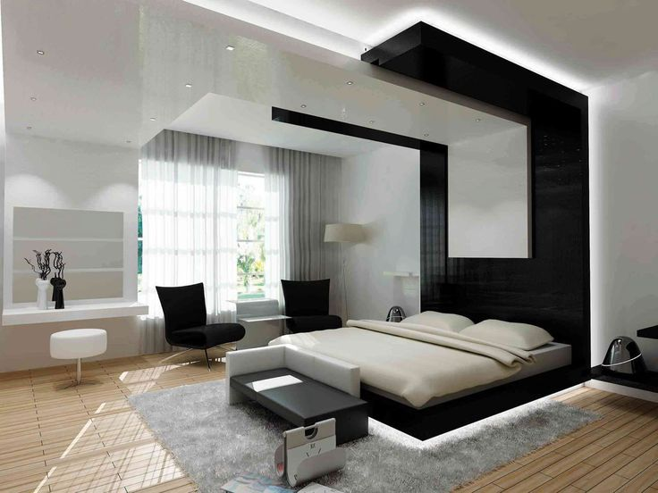 black furniture chairs on modern bedroom design with wood flooring white bed cover frame