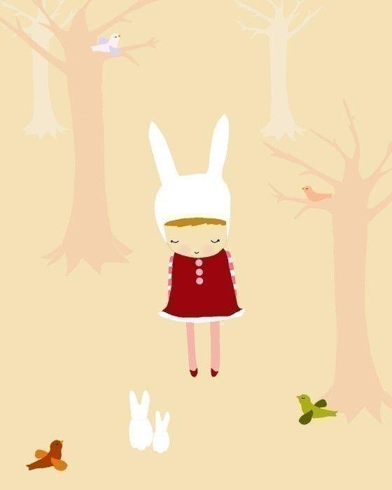 arte digitale, disegno e stampa di illustrazione, piccola ragazza, camera dei bambini, arte bambini, arte vivaio, rosso, rosa, foresta, fiab...