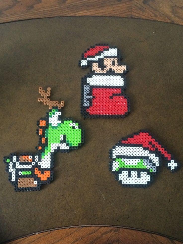 Super Mario Bros Set of 3 Christmas Perler Bead Sprite Ornaments