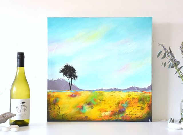 Where I Belong 2 - abstract landscape painting with Cabbage Tree by Renee Walden