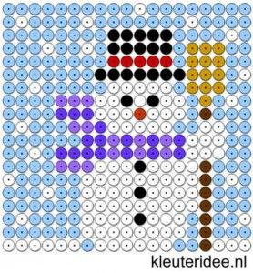 Kralenplank sneeuwpop, kleuteridee.nl , thema winter, sneeuwpop , free printable Beads patterns preschool .