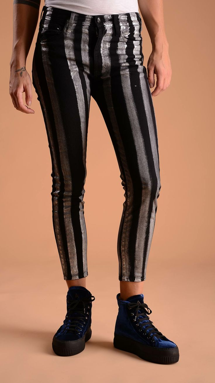 Cycle Five pockets striped skinny jeans, belt loops, concealed zip fastening with button closure