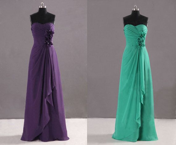 Strapless Floral Decoration Purple And Green Sweetheart Neck Warped Skirt Long Prom Dress, Bridesmaid Dress on Etsy, $118.00