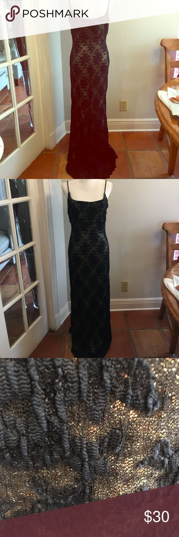 Navy and gold Special occasion dress size 12 Jessica McClintock stunning gown. Great for mother of the bride or black tie event. Excellent condition. Dress is navy blue lace with a gold underdress lining. Stretchy and stunning!  Gold shimmers through in the light. Jessica McClintock Dresses Prom