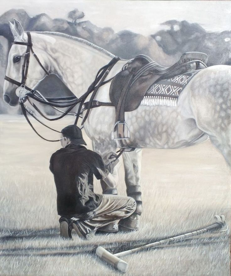 Polo Player {1st in Series} ~ Block Mounted Oil Painting by Dawn Du Preez #DawnDuPreez