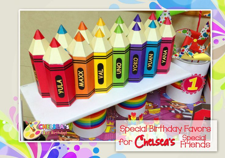 1st Birthday Party (Art Rainbow Party Theme)  Personalized Crayon Box Souvenir Loaded with candies and chocolates