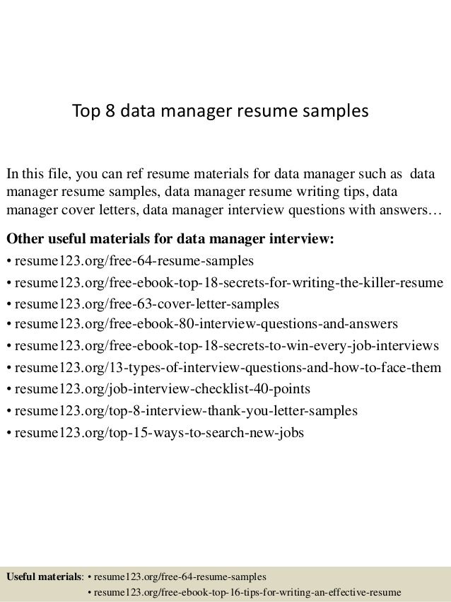 It Data Management Resume - The best estimate professional