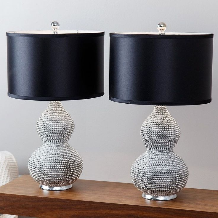 Transitional Table Lamp Silver Plated Sea Urchin Black Faux Silk Shade 2 Set #ABBYSONLIVING #Transitional #Lamp #TableLamp #Decoration #Lighting