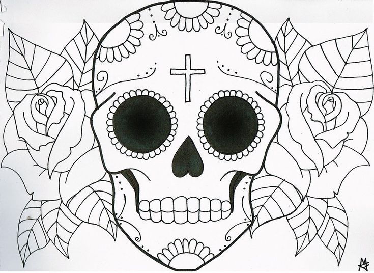 Kids Coloring Easy Skull Coloring Pages For Kids Sugar Skull