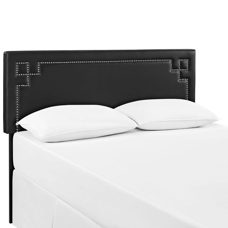 Josie King Vinyl Headboard, Black - Enhance decor with the elegant Josie Headboard in Vinyl. Fashioned with diamond-patterned silver accent nail buttons, Josie features a solid wood frame, adjustable black coated metal legs, and dense foam padding for ultimate support. Designed to delight, Josie is a glamorous piece that complements traditional, contemporary and modern bedrooms admirably. Fully Compatible with Sharon, Sherry and Helen Platform Bed Frames. Set Includes: One - Josie King…