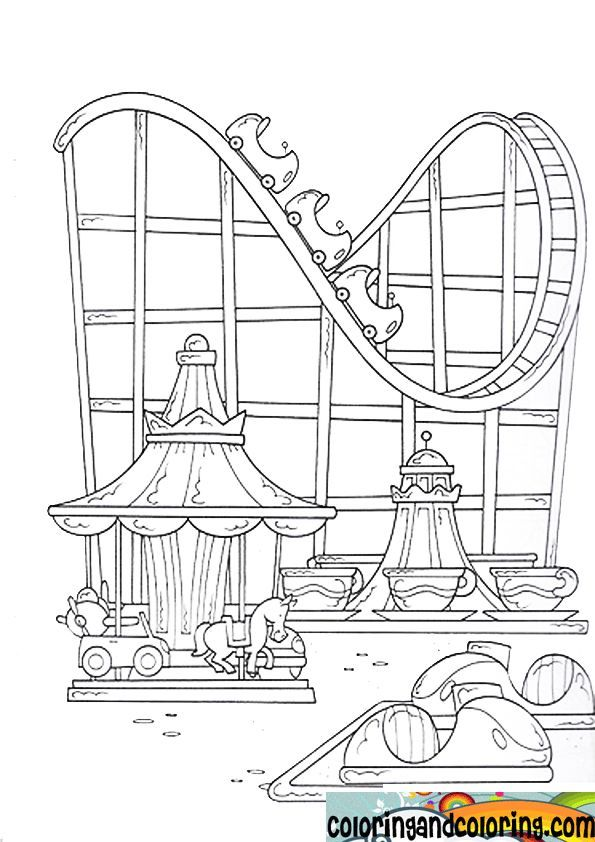Amusement Park Coloring Pages Coloring And Coloringcrystal Shelton Pinworld Roller Coaster Drawing Roller Coaster Theme Coloring Pages