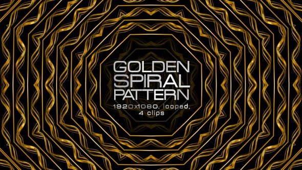 Golden Spiral Pattern Video Animation | 4 clips | Full HD 1920×1080 | Looped | H.264 | Can use for VJ, club, music perfomance, party, concert, presentation | #cinematic #concert #edm #fashion #frame #glamour #glow #gold #golden #loops #luxurious #music #pattern #slow #vj