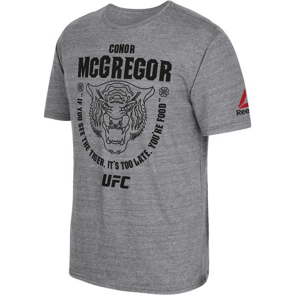 Reebok UFC Fan Conor McGregor Tee (255 SEK) ❤ liked on Polyvore featuring men's fashion, men's clothing, men's shirts, men's t-shirts, apparel, dark grey heathered and men