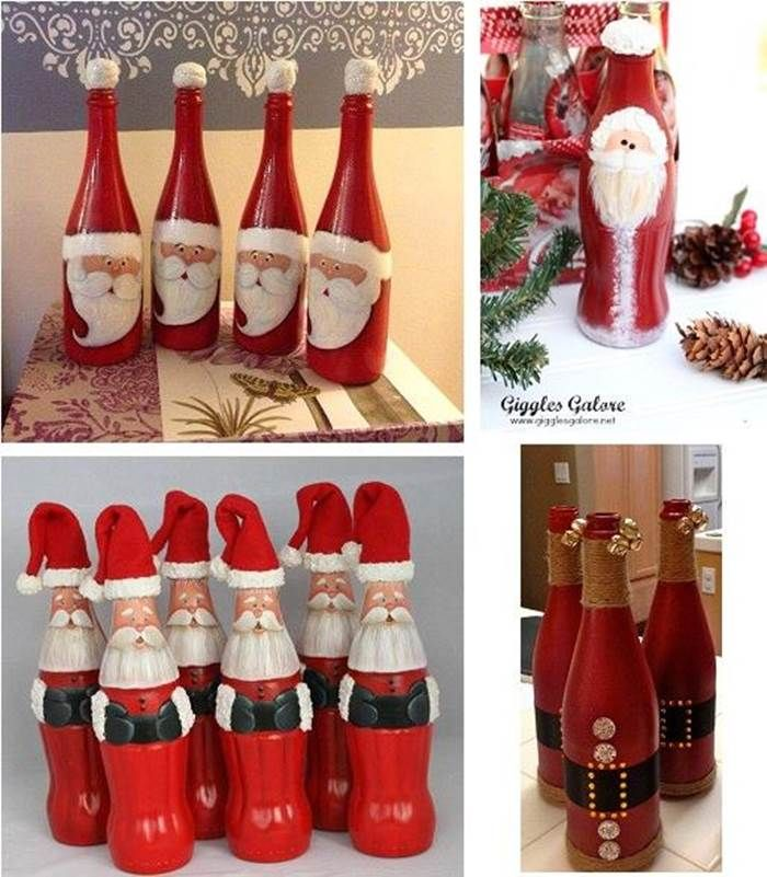 Creative Ideas DIY Christmas Hand Painted Glass Bottle Santa Wonderful DIY Cute Christmas Bottle Santa