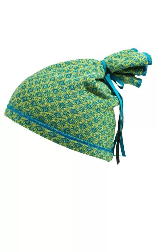 Mütze aus Strick Aqua-Limone, cooler Look