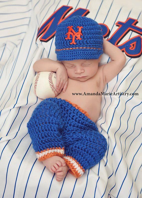 Baby Boy New York Mets Baseball Cap Diaper by LovelyBabyKnits