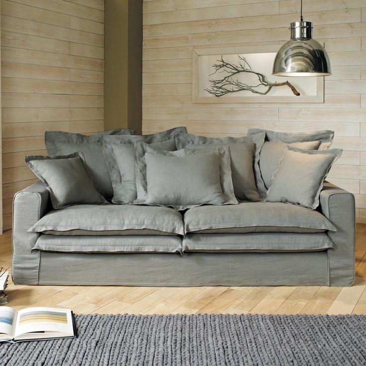 canap 3 4 places fixe lin gris clair lisbonne maisons. Black Bedroom Furniture Sets. Home Design Ideas