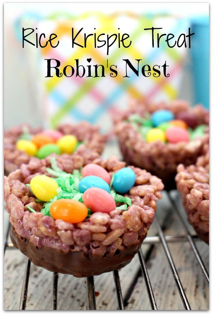 Home handmade candies chocolate dipped rice krispy treats 2 - Rice Krispie Treat Robins Nest