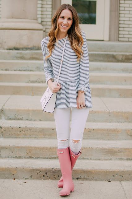 Striped Peplum + Pink Hunters | Twenties Girl Style.