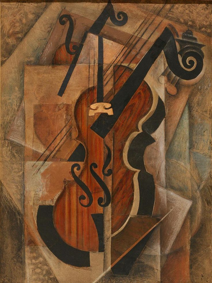 Paul Kotlarevsky (Russian, 1883-1950), Still life with violin, 1914. Pastel, watercolour, gouache, pencil and collage on paper, 48 x 36.5cm.