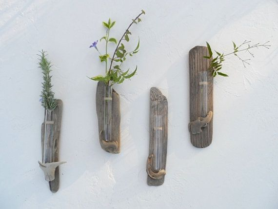 No. 10 Vase Driftwood Beach Decor Wall Flower Hanging Bud Vase For Home or Wedding Decor Happy Beach Thoughts Single Flower Glass Vase