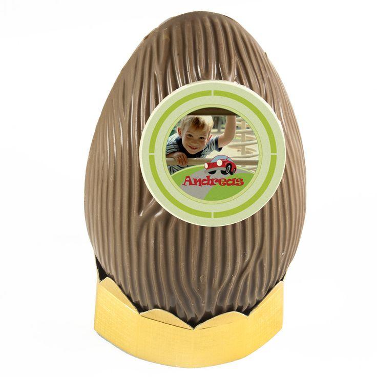 Schokoladen Osterei mit Foto und Text