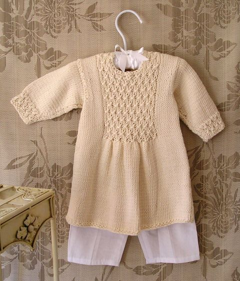 OGE Knitwear Designs - P006 - Baby girl's smocked front panel dress (6 - 12m)