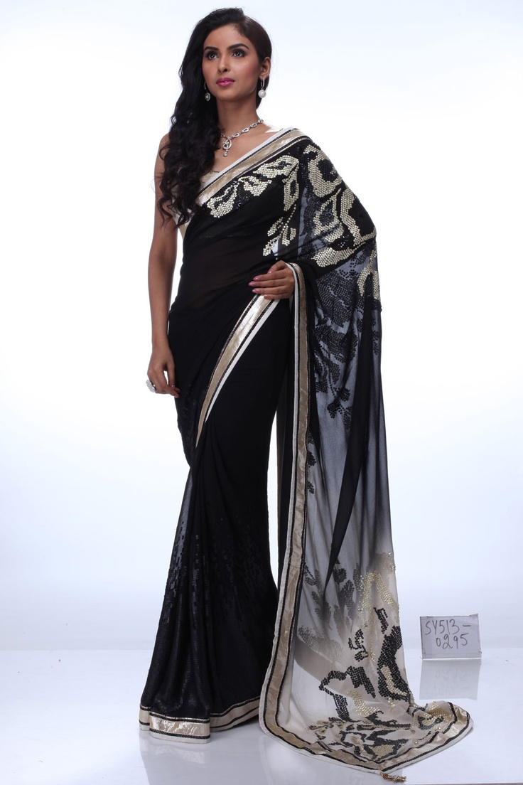 SatyaPaul simply chic black saree