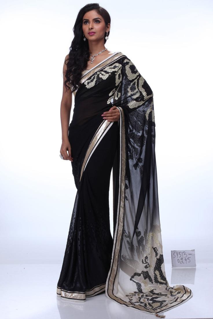 SatyaPaul simply chic black saree