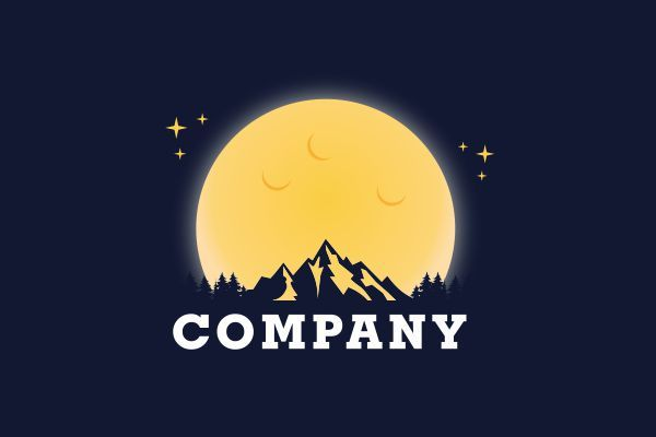 Logo for sale: Moon And Mountain Logo