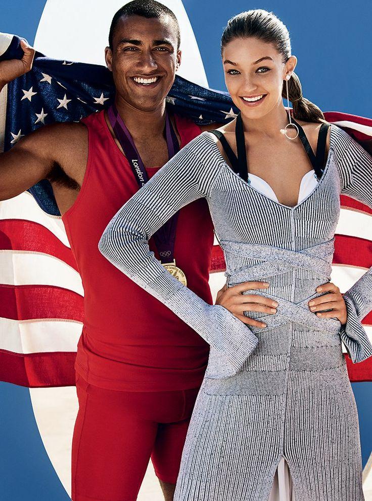 Gigi Hadid and Olympic decathlete Ashton Eaton photographed by Mario Testino, Vogue, August 2016.