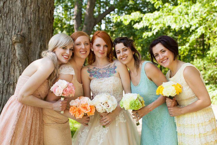 #bridesmaids #mismatchedbridesmaids #bride #tattooedbride