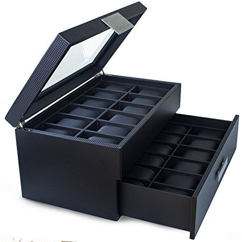 Watch Box for Men - 24 Slot Luxury Display Case Organizer, Carbon Fiber Design for Mens Jewelry Watches ,The Men's Storage Holder Boasts Large Glass Top, Metal Buckle, Drawer & Leather Pillows - Black, http://www.amazon.com/dp/B01D0MRYGW/ref=cm_sw_r_pi_awdm_x_rT.-xbHWJQZBQ