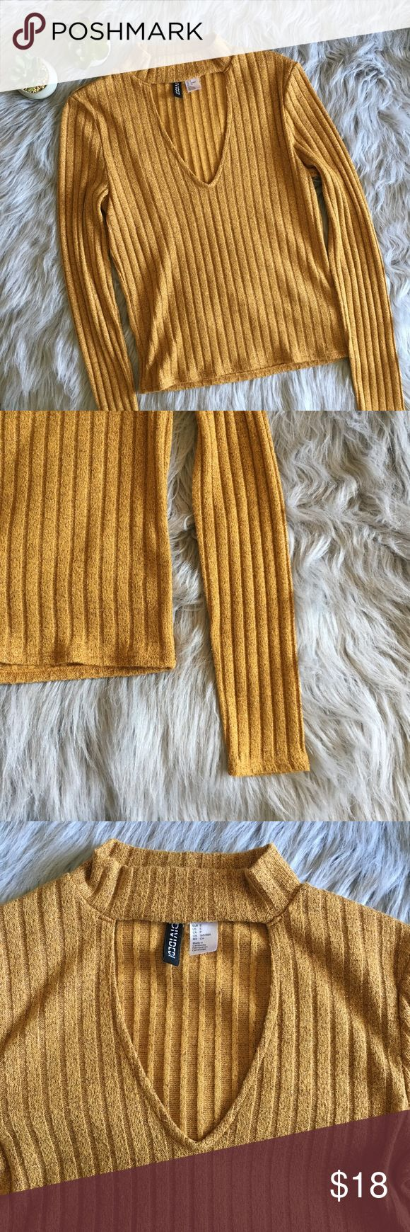 """Divided by H&M Ribbed Choker Top Excellent condition ribbed crop top in mustard yellow from Divided by H&M. Fabric is interwoven with metallic fabric. Bust 14"""", length 20"""", sleeves 23.5"""". Made of 47% polyester, 40% viscose, 10% metallised fiber, 3% elastane.   ❗️Ask all questions prior to purchase ❗️No trades ❗️Offers accepted through """"offer"""" button H&M Tops Blouses"""