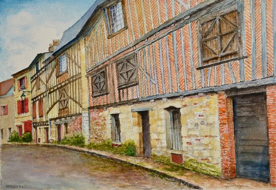 A row of medieval brick, timber and stone houses in Bergerac, Nouvelle Aquitaine, France. Ink and watercolour painting by Dai Wynn on 300gsm rough surface Arches cotton paper. 29.5 cm high by 42 cm wide by 0.1 cm deep approximately. A3 standard size.