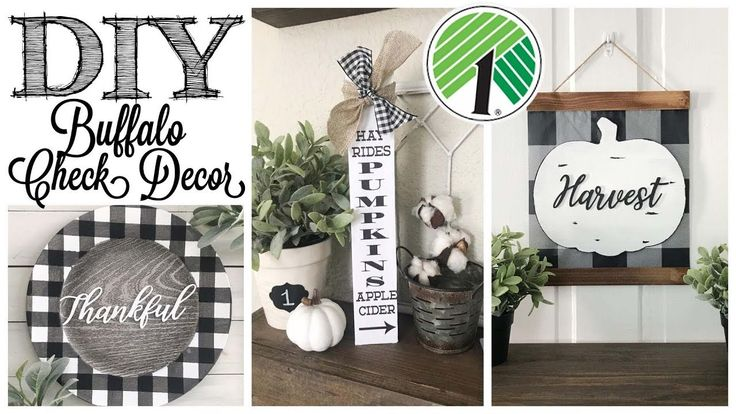 DIY Dollar Tree Fall Decor | 3 BUFFALO CHECK PROJE…