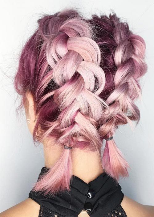 Soft pink hair, cute braids |Pinterest: @lauranoet