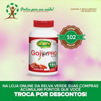 Promoção da semana>> Goji Pro Fit Unilife 180 Cápsulas  Contém vários ingredientes conhecidos por serem fontes de fibras e ainda é enriquecido com colágeno hidrolisado, ácido ascórbico e biotina.  Aproveite e ganhe pontos para a sua saúde! http://www.lojarelvaverde.com.br/goji-pro-fit-unilife-180-capsulas-600mg-p1329