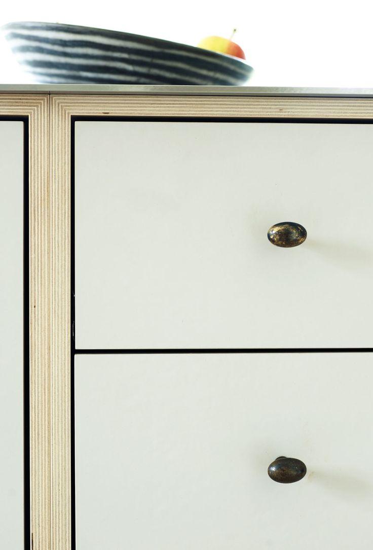 birch plywood + linoleum, worktop 6 mm stainless steel, brass handles